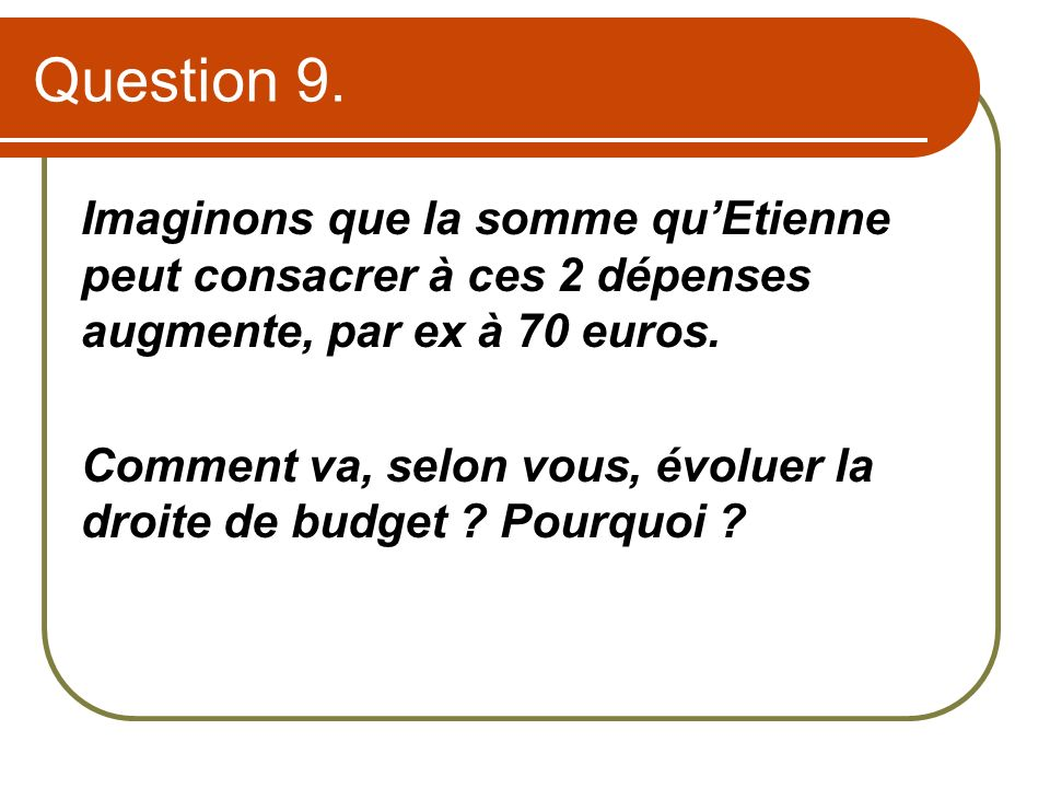 Question 9.Imaginons que la somme qu'Etienne peut consacrer à ces 2 dépenses augmente, par ex à 70 euros.