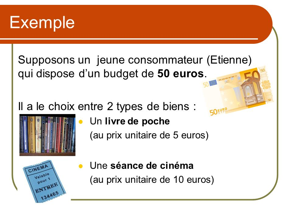 Exemple Supposons un jeune consommateur (Etienne) qui dispose d'un budget de 50 euros. Il a le choix entre 2 types de biens :