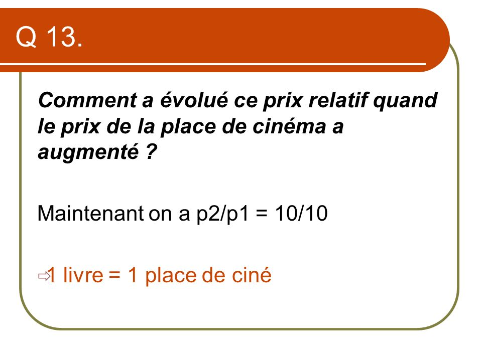 Q 13. Comment a évolué ce prix relatif quand le prix de la place de cinéma a augmenté Maintenant on a p2/p1 = 10/10.