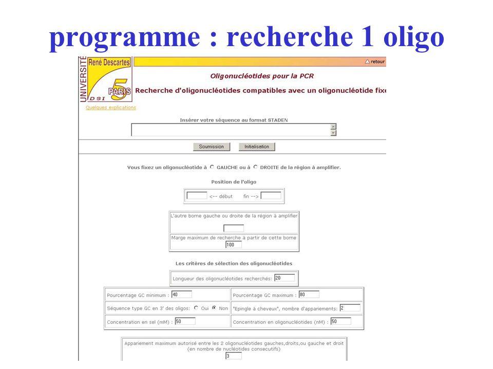 programme : recherche 1 oligo
