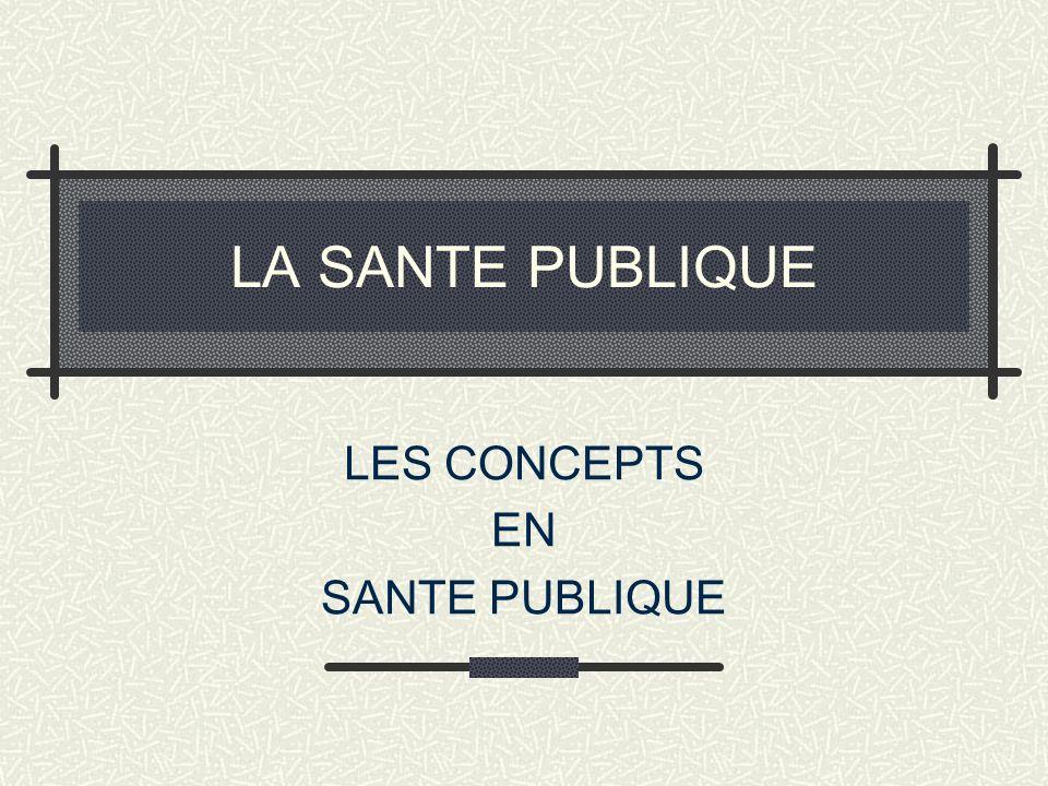 LES CONCEPTS EN SANTE PUBLIQUE