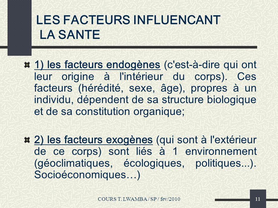 LES FACTEURS INFLUENCANT LA SANTE