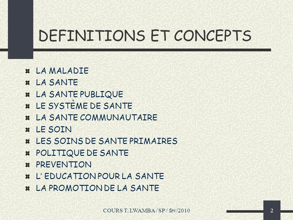 DEFINITIONS ET CONCEPTS