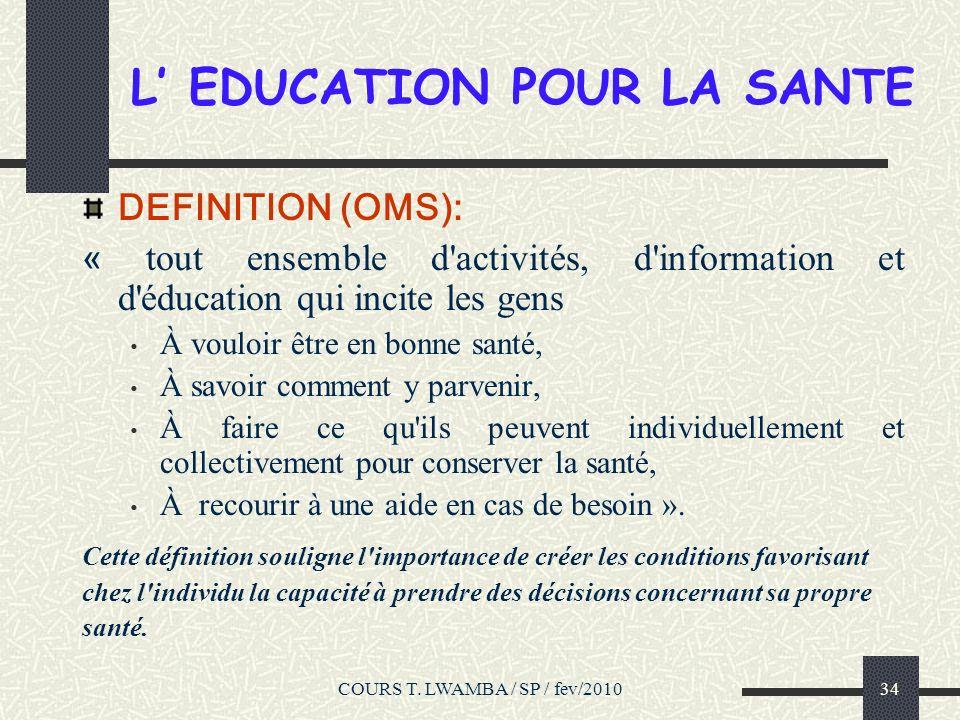L' EDUCATION POUR LA SANTE
