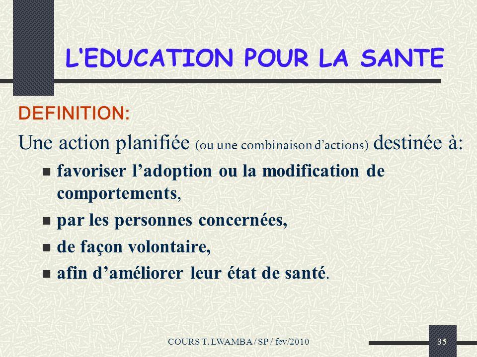L'EDUCATION POUR LA SANTE