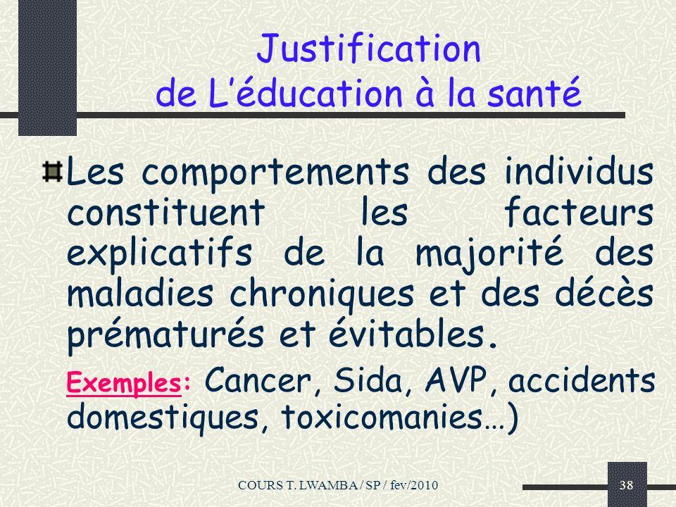 Justification de L'éducation à la santé