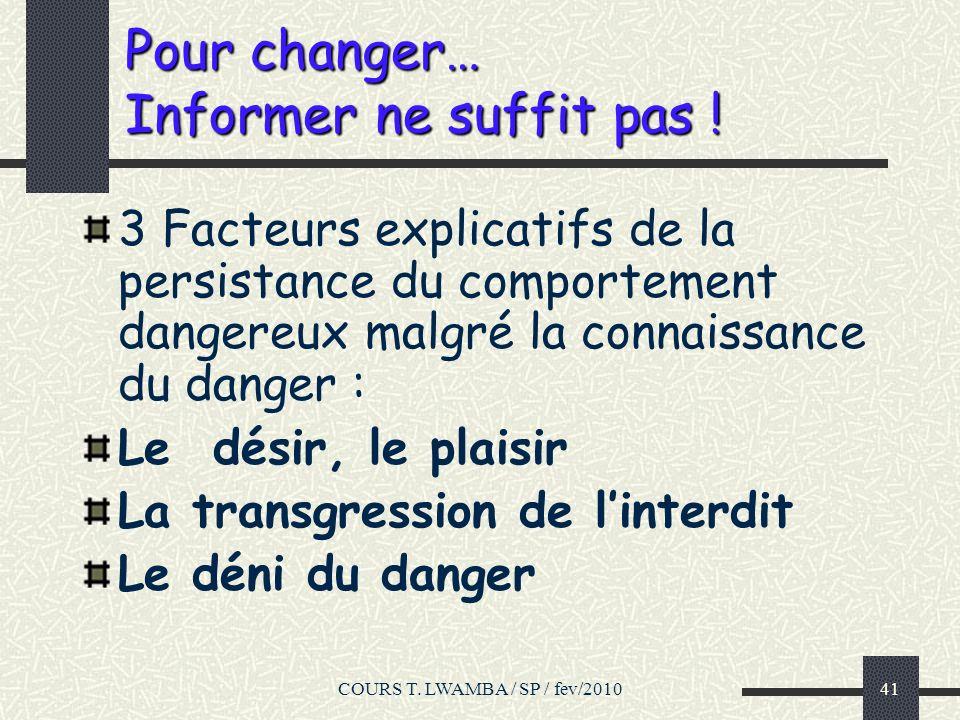 Pour changer… Informer ne suffit pas !