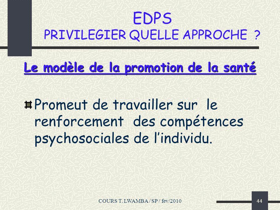 EDPS PRIVILEGIER QUELLE APPROCHE