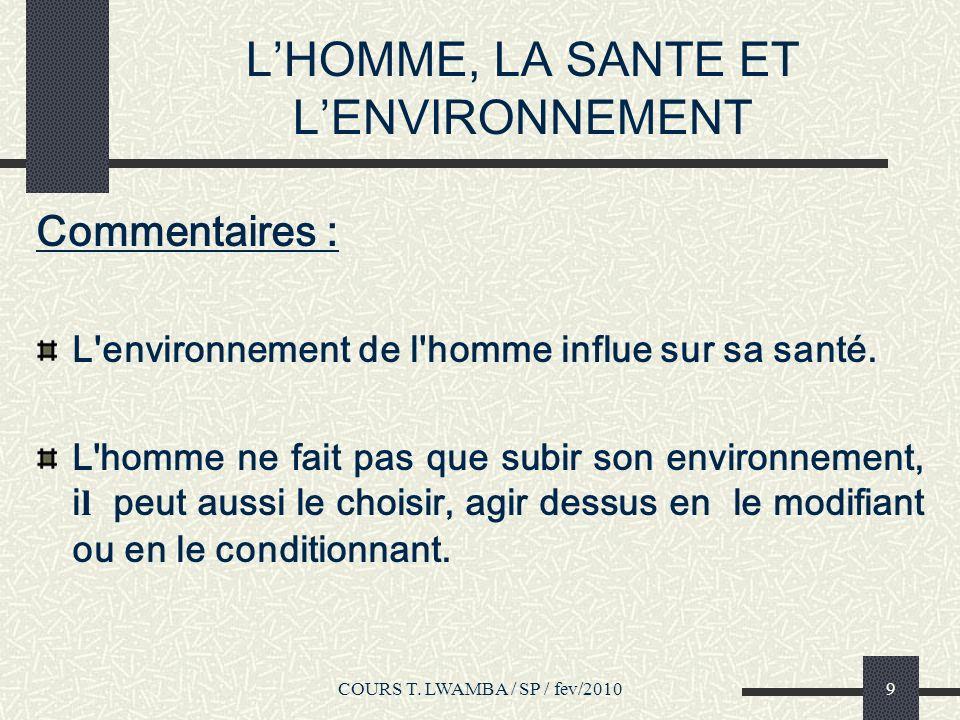 L'HOMME, LA SANTE ET L'ENVIRONNEMENT