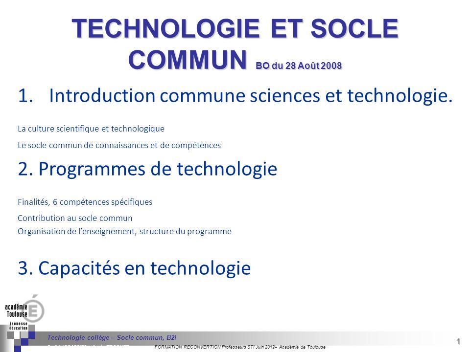 TECHNOLOGIE ET SOCLE COMMUN BO du 28 Août 2008