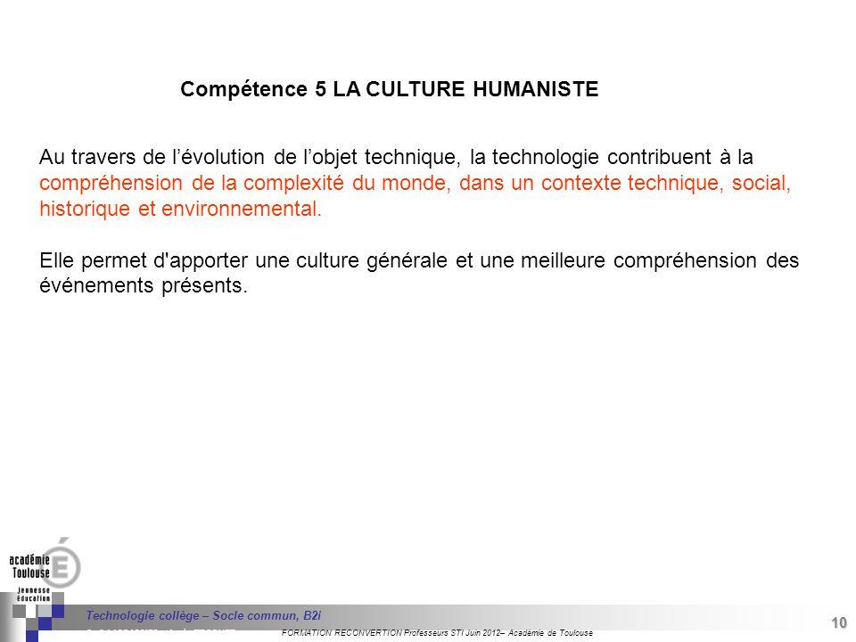 Compétence 5 LA CULTURE HUMANISTE