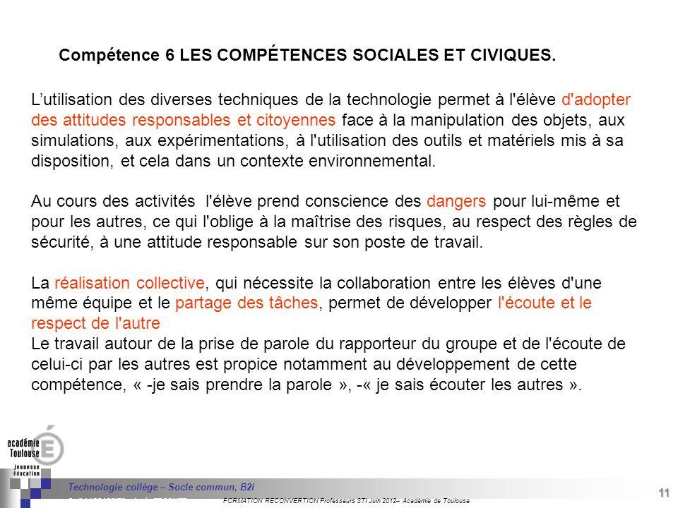 Compétence 6 LES COMPÉTENCES SOCIALES ET CIVIQUES.