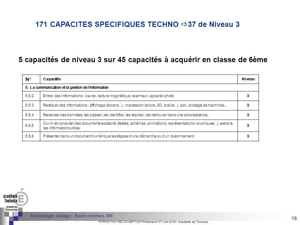171 CAPACITES SPECIFIQUES TECHNO 37 de Niveau 3