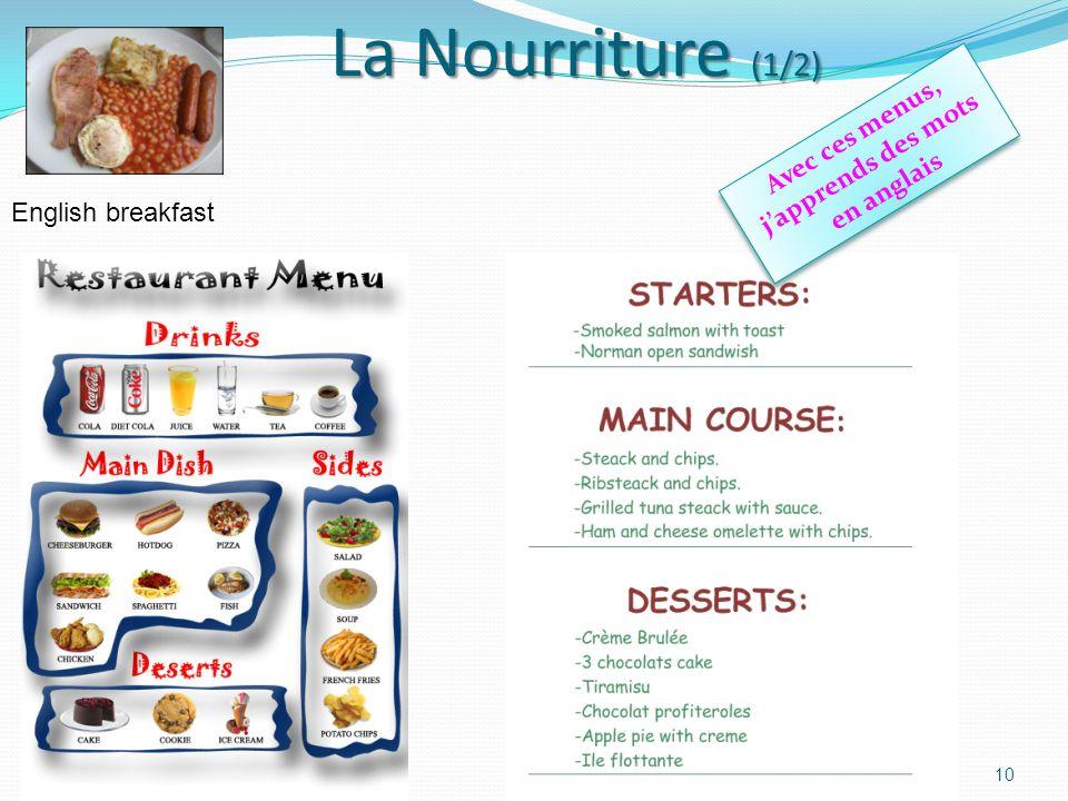 Avec ces menus, j'apprends des mots en anglais