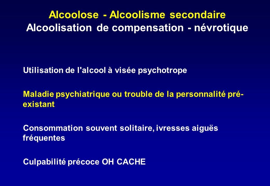 Alcoolose - Alcoolisme secondaire Alcoolisation de compensation - névrotique