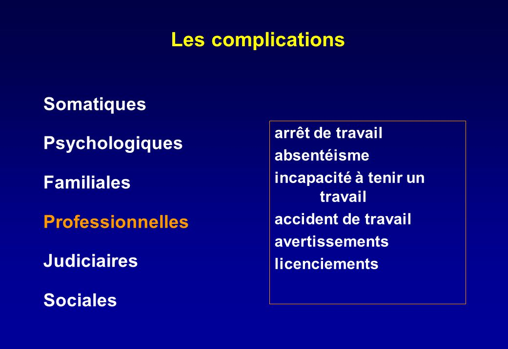 Les complications Somatiques Psychologiques Familiales
