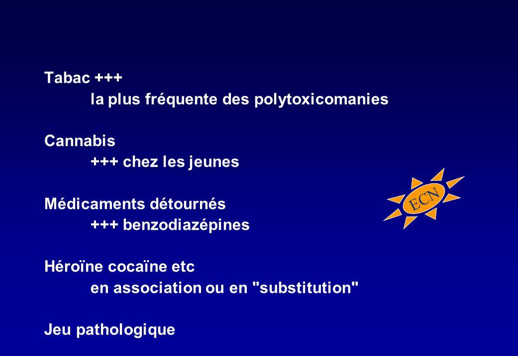 Tabac +++ la plus fréquente des polytoxicomanies. Cannabis. +++ chez les jeunes. Médicaments détournés.