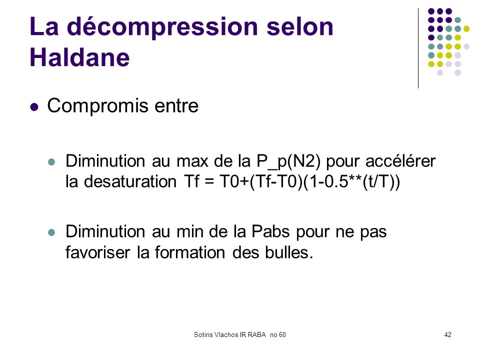La décompression selon Haldane