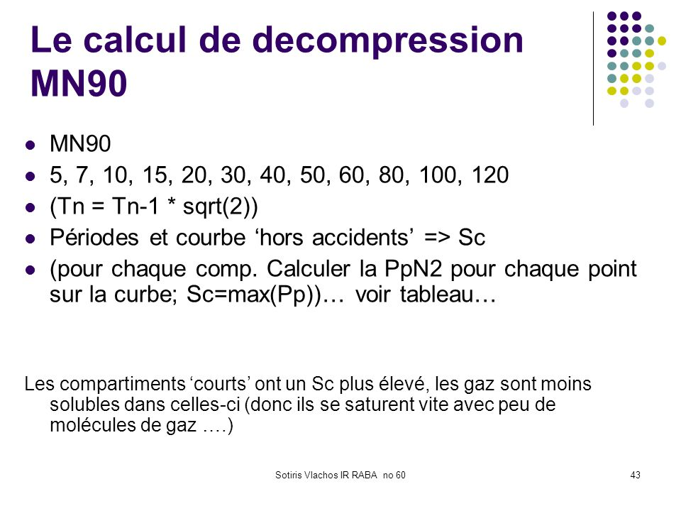 Le calcul de decompression MN90