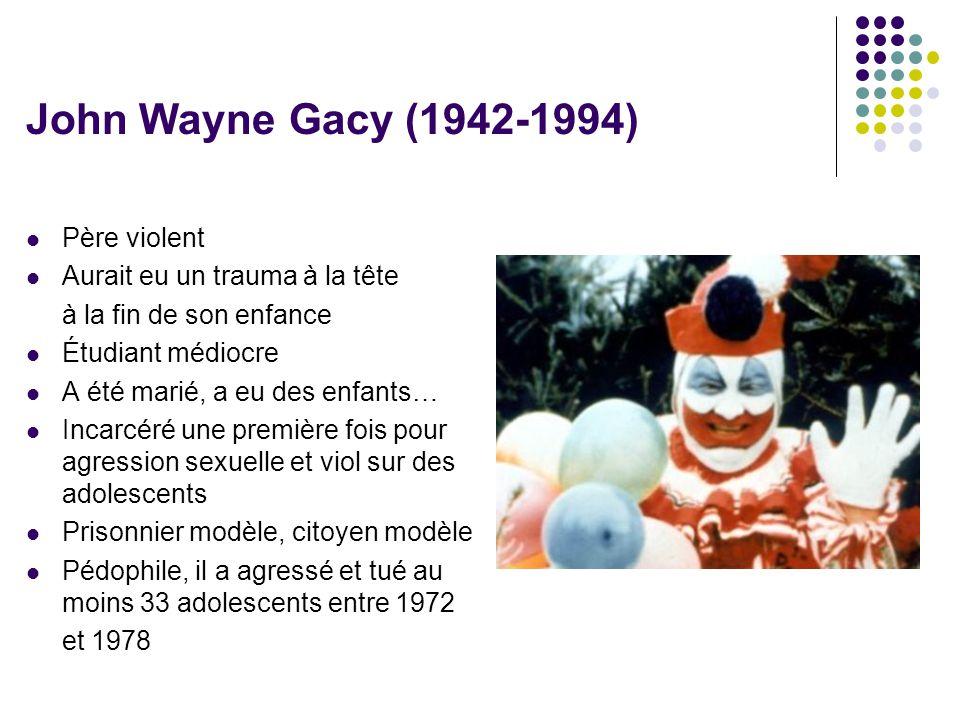John Wayne Gacy (1942-1994) Père violent Aurait eu un trauma à la tête