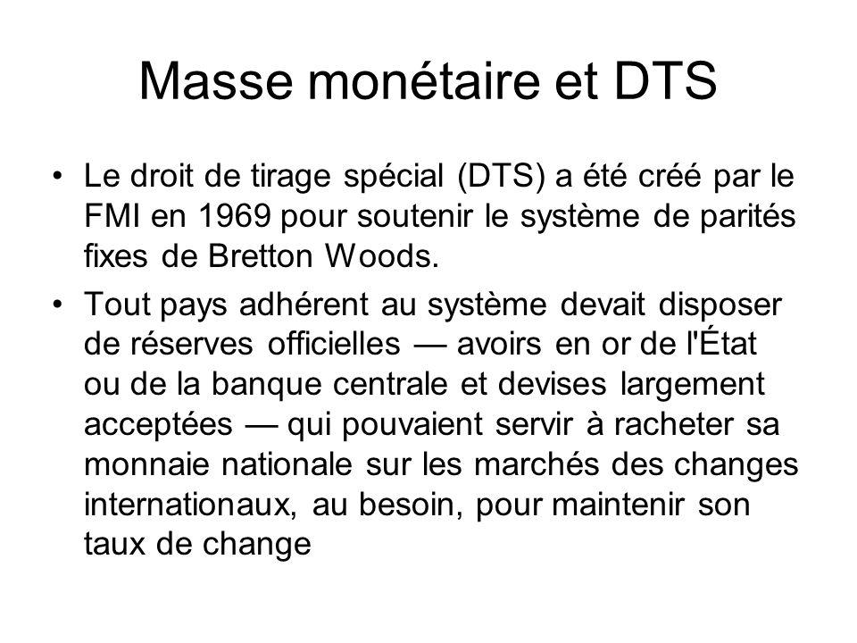 Masse monétaire et DTS Le droit de tirage spécial (DTS) a été créé par le FMI en 1969 pour soutenir le système de parités fixes de Bretton Woods.
