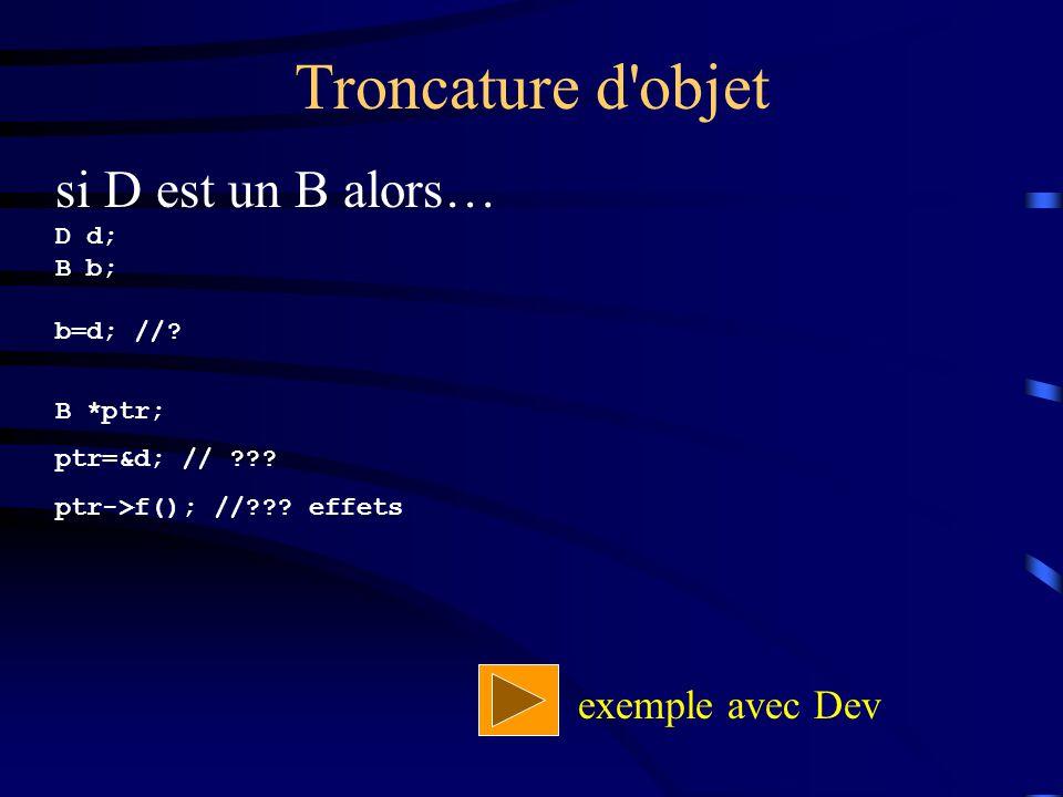 Troncature d objet si D est un B alors… exemple avec Dev D d; B b;