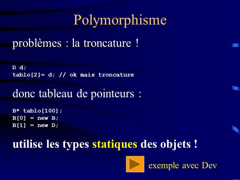 Polymorphisme problèmes : la troncature ! donc tableau de pointeurs :