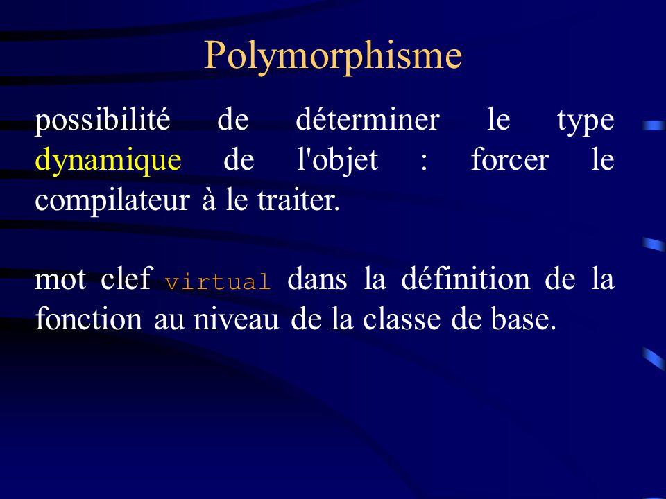 Polymorphisme possibilité de déterminer le type dynamique de l objet : forcer le compilateur à le traiter.