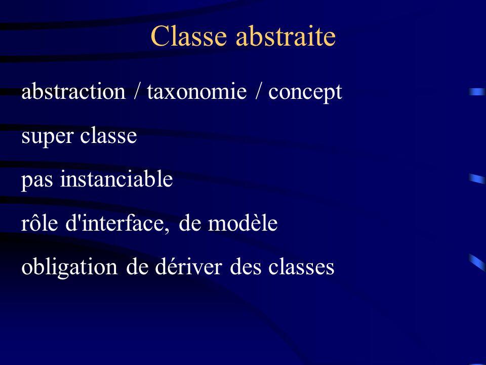 Classe abstraite abstraction / taxonomie / concept super classe