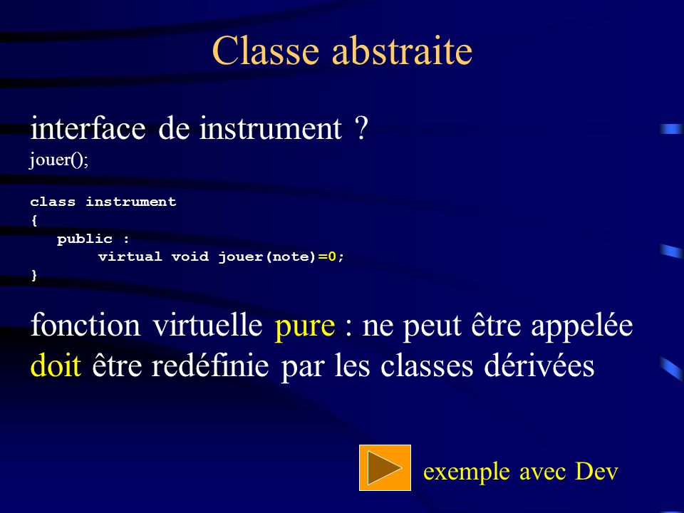 Classe abstraite interface de instrument