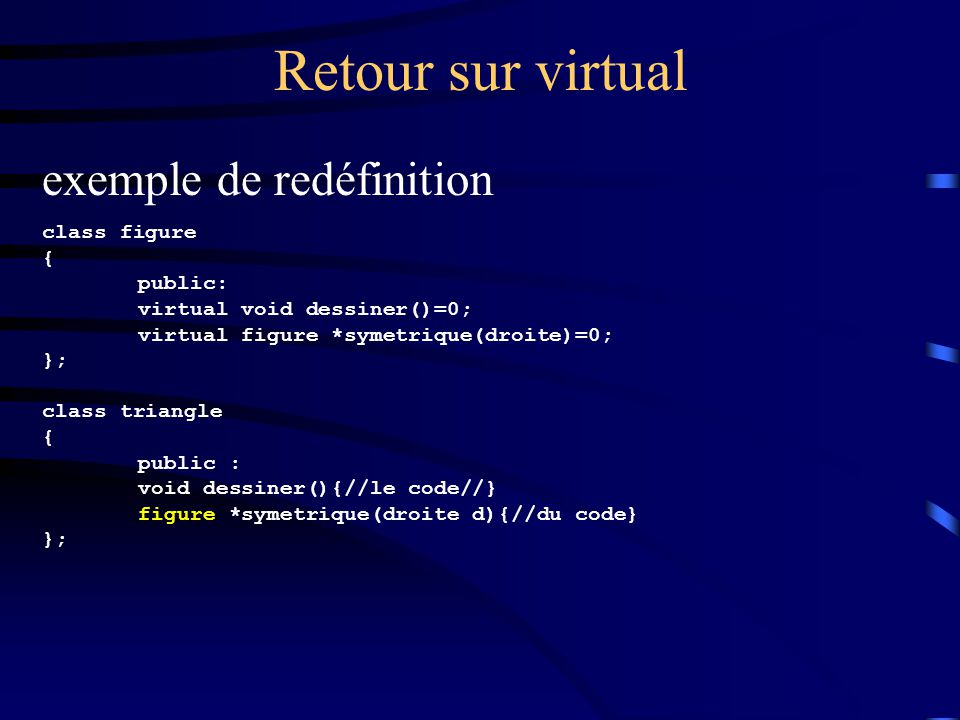 Retour sur virtual exemple de redéfinition class figure { public: