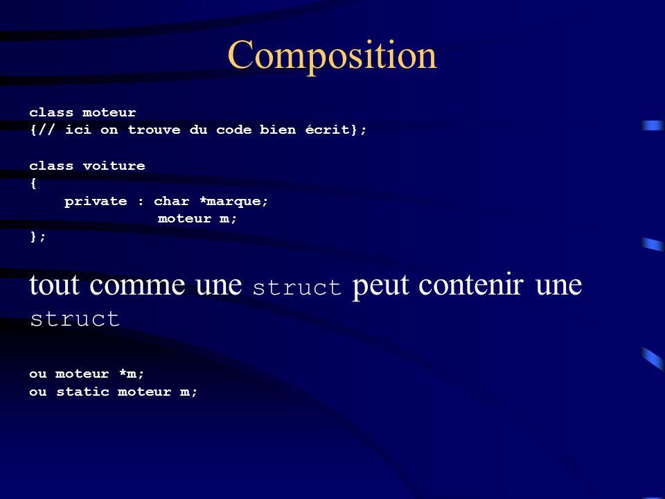 Composition tout comme une struct peut contenir une struct