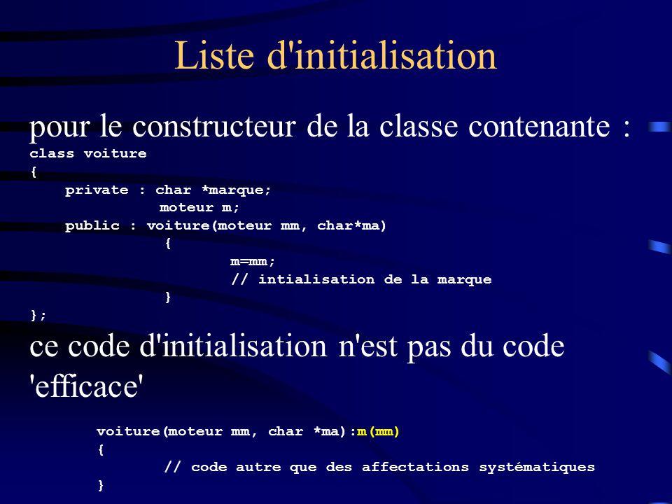 Liste d initialisation