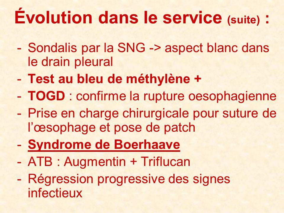 Évolution dans le service (suite) :