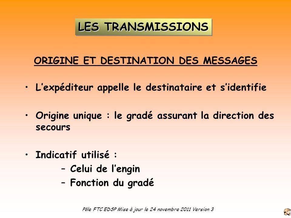 ORIGINE ET DESTINATION DES MESSAGES