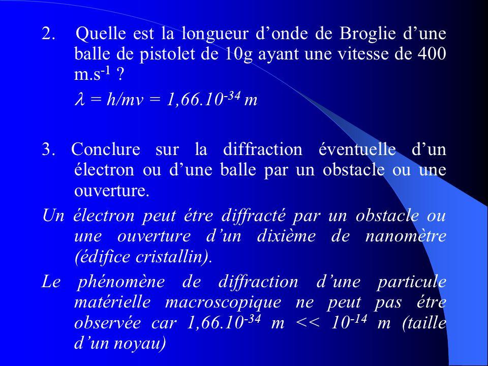 2. Quelle est la longueur d'onde de Broglie d'une balle de pistolet de 10g ayant une vitesse de 400 m.s-1