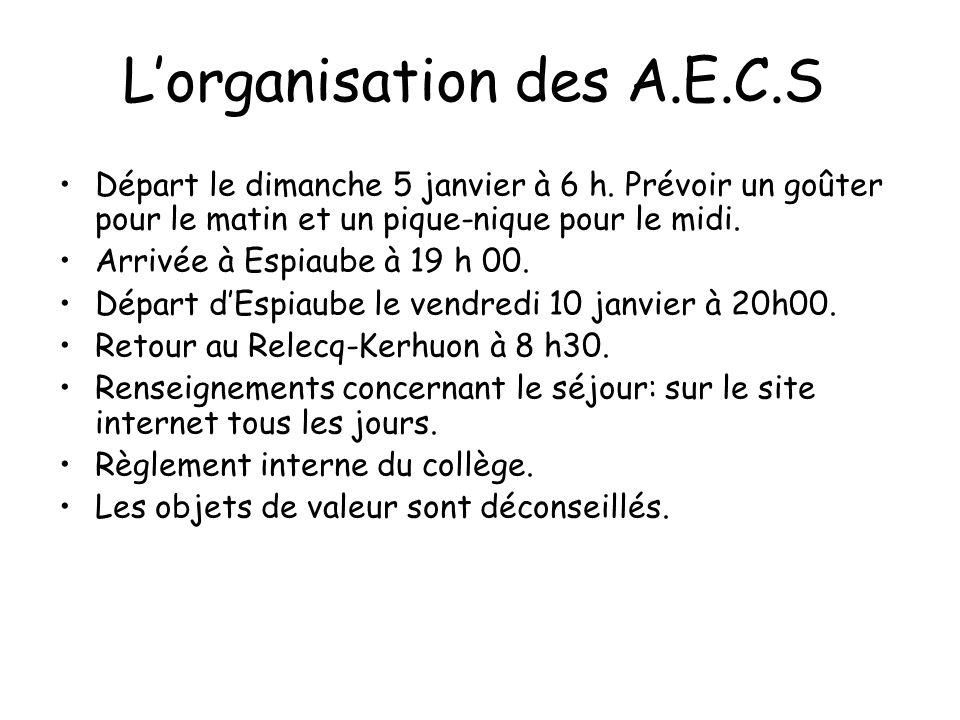 L'organisation des A.E.C.S