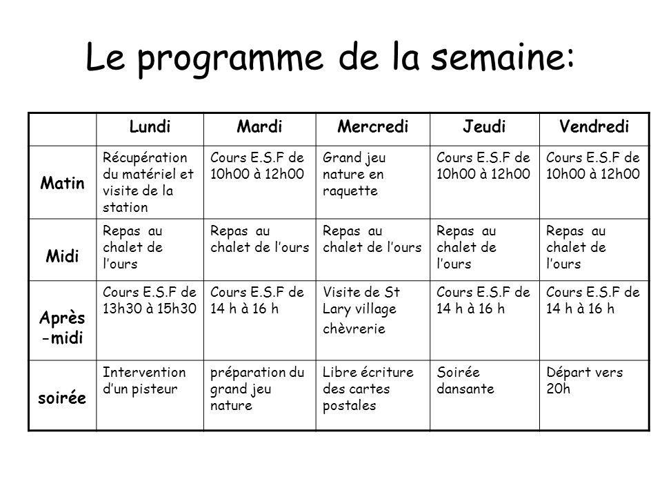 Le programme de la semaine: