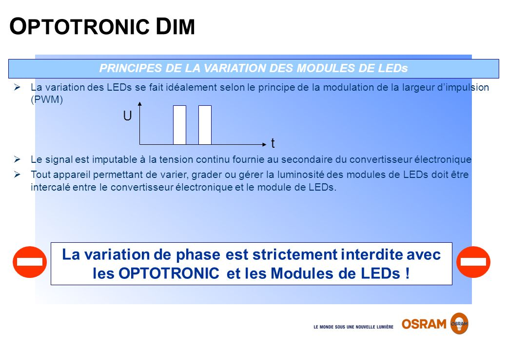 PRINCIPES DE LA VARIATION DES MODULES DE LEDs