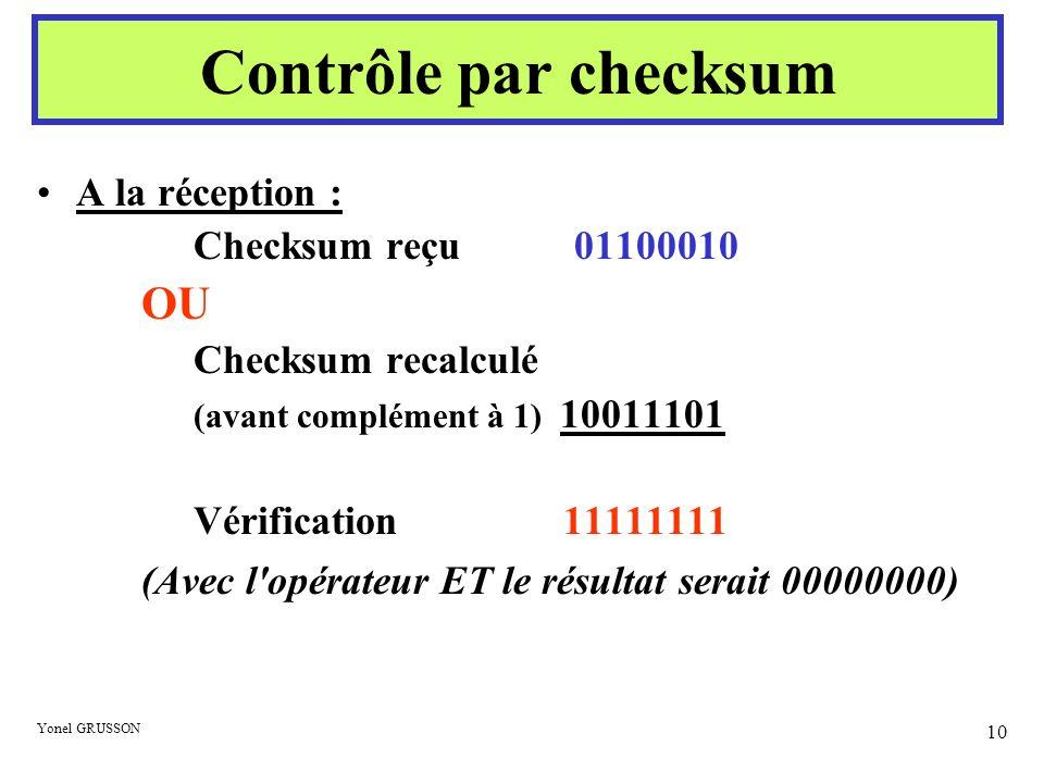 Contrôle par checksum OU A la réception : Checksum reçu 01100010