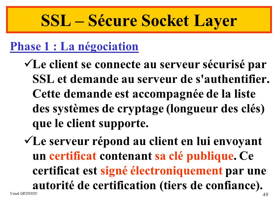 SSL – Sécure Socket Layer