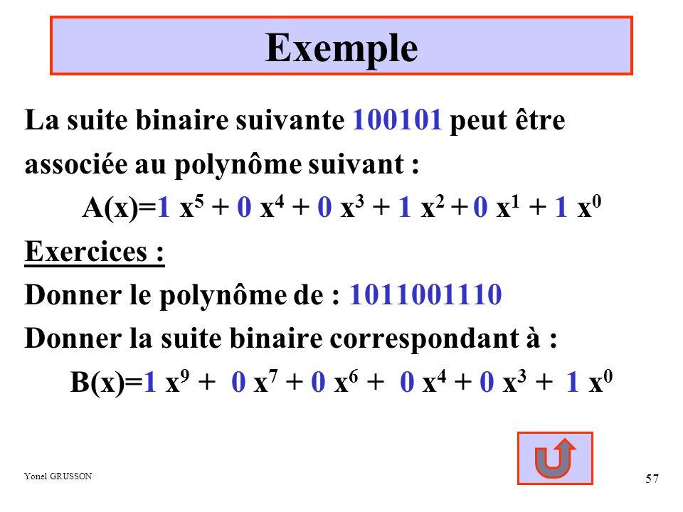 Exemple La suite binaire suivante 100101 peut être