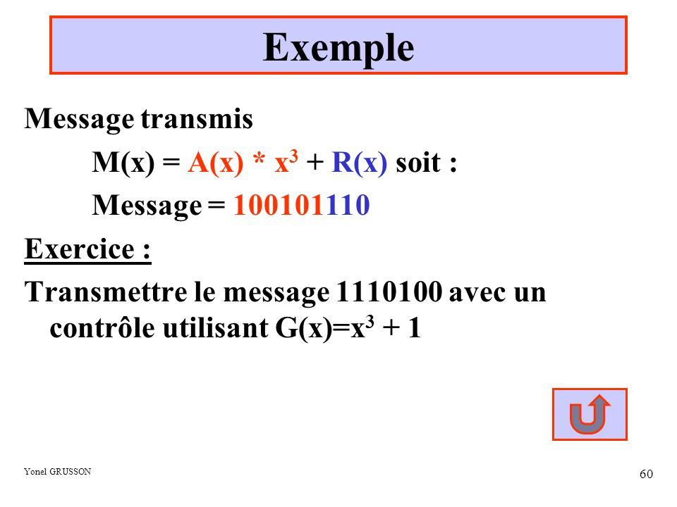 Exemple Message transmis M(x) = A(x) * x3 + R(x) soit :