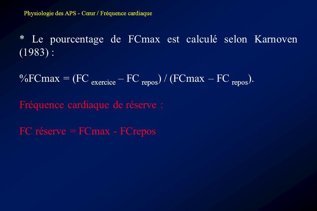 * Le pourcentage de FCmax est calculé selon Karnoven (1983) :