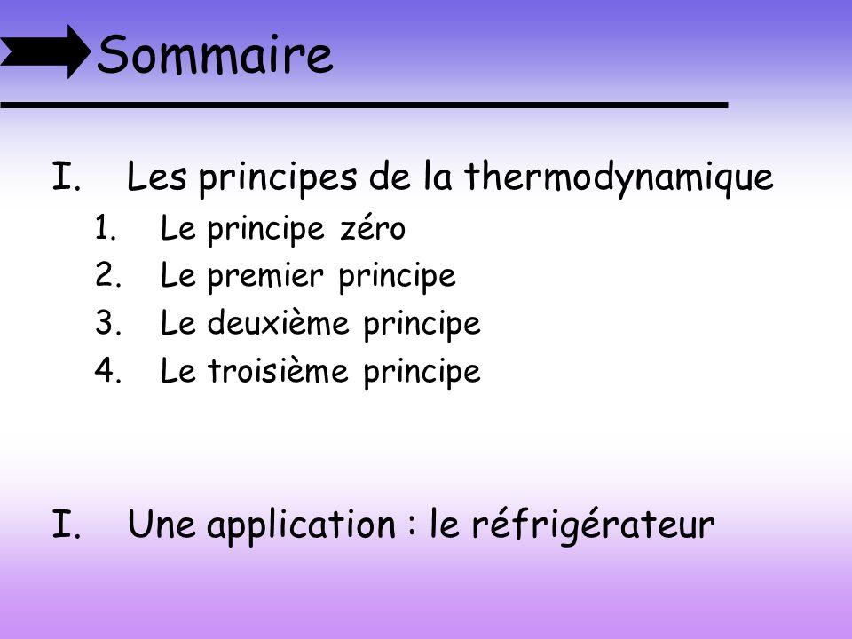 Sommaire Les principes de la thermodynamique
