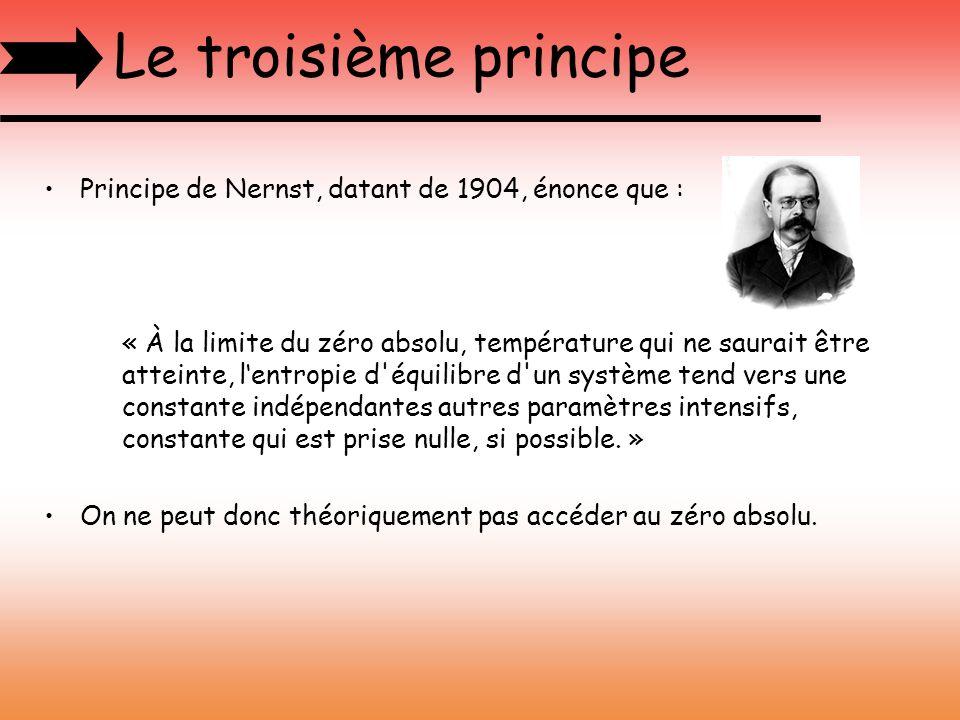 Le troisième principe Principe de Nernst, datant de 1904, énonce que :