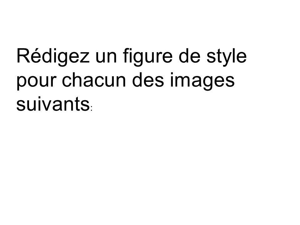 Rédigez un figure de style pour chacun des images suivants: