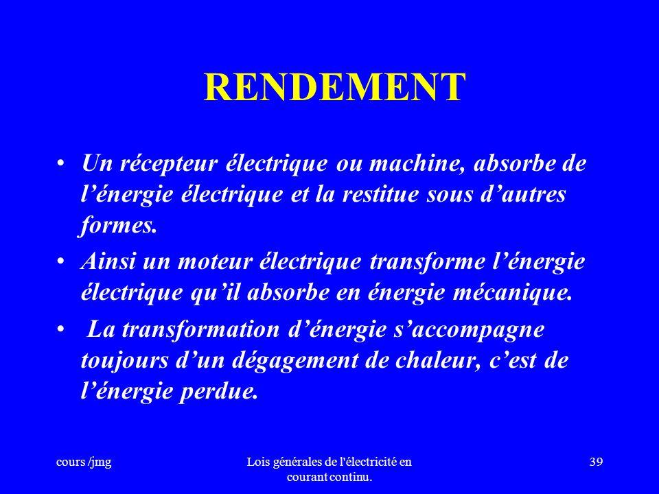 Lois générales de l électricité en courant continu.