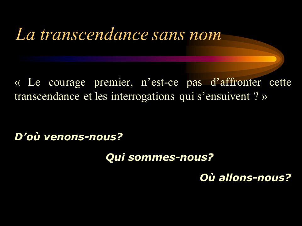 La transcendance sans nom