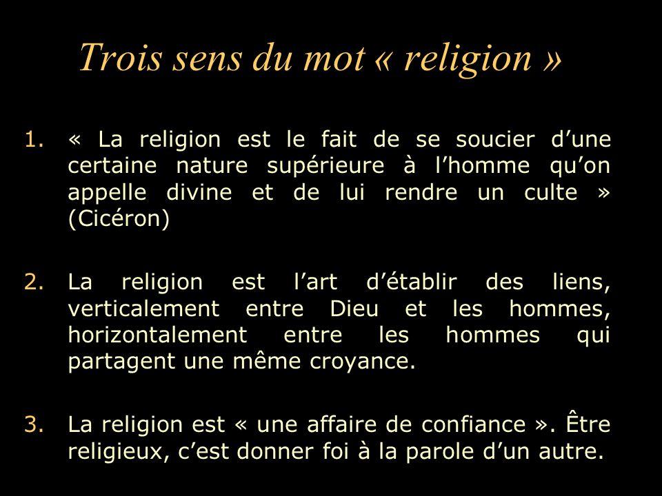 Trois sens du mot « religion »